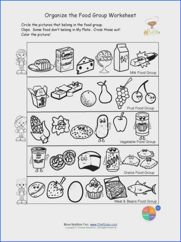 Free food groups printable nutrition education worksheet Kids learn about the USDA Food Pyramid food