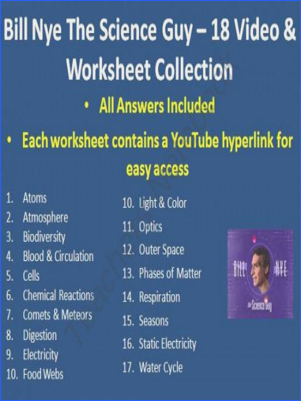 Here is my collection of 18 Bill Nye The Science Guy Video Worksheets includes the
