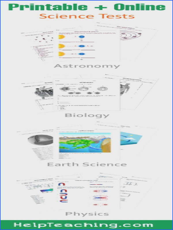 High School Science Tests & Worksheets Biology Earth Science Chemistry and Physics