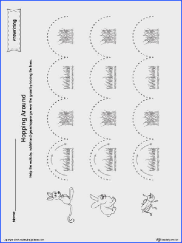 Hopping Curved Line Tracing Prewriting Worksheet