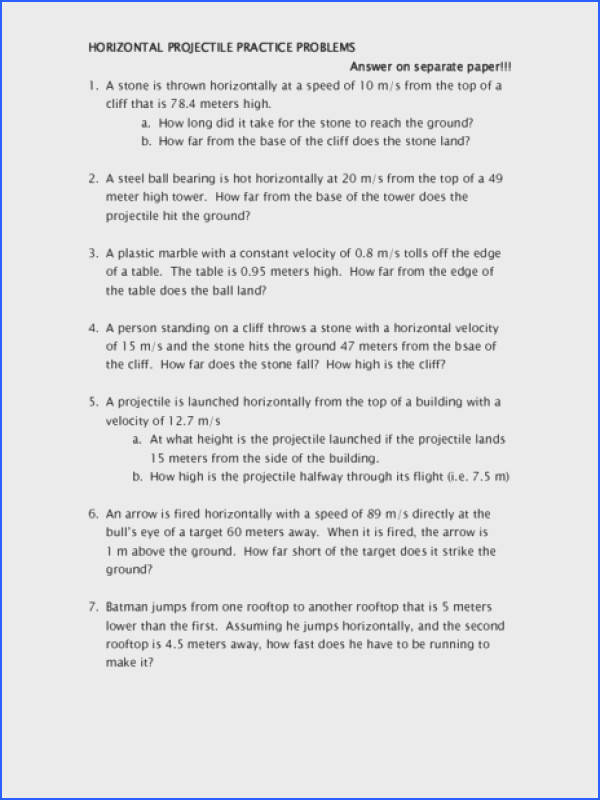 Horizontal Projectile Practice Problems Worksheet for 10th Higher Ed