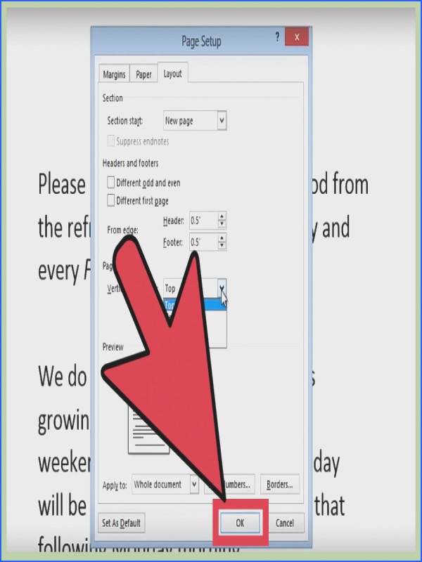Center Text in Microsoft Word Step 10