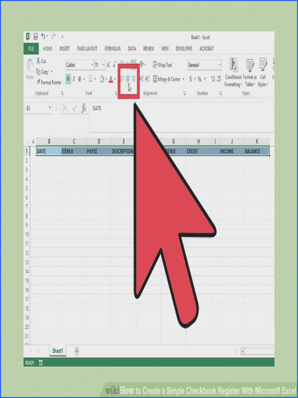 Image titled Create a Simple Checkbook Register With Microsoft Excel Step 6