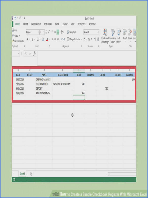 Image titled Create a Simple Checkbook Register With Microsoft Excel Step 7