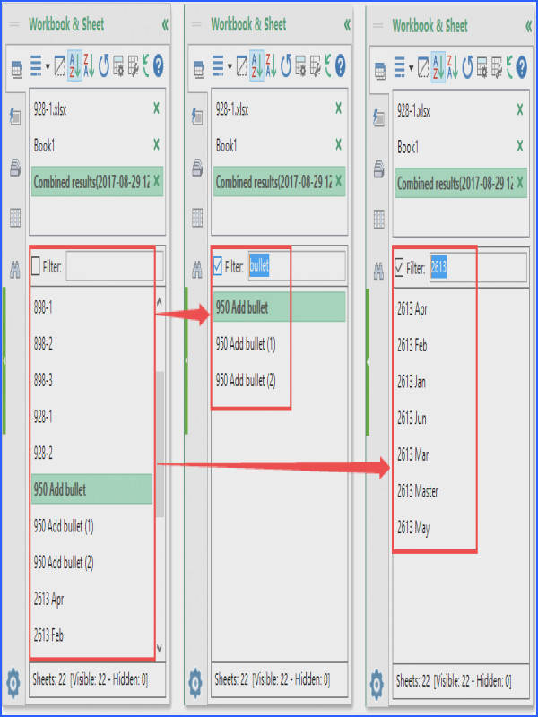 Search by worksheet name with Navigation Pane of Kutools for Excel