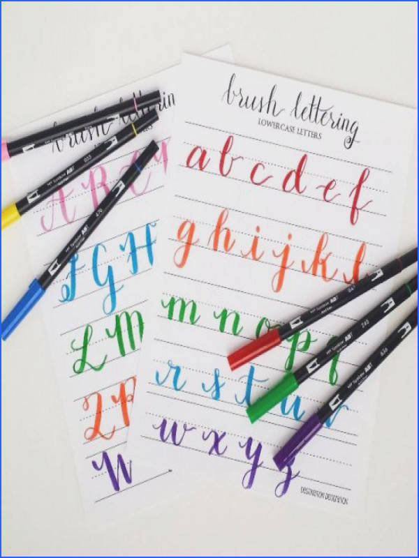 Handwriting · How to write with brush pens Includes free lettering worksheets plus instructions for how