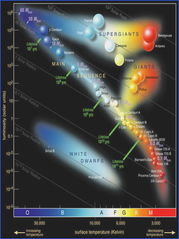 When stars are plotted on a luminosity vs surface temperature diagram