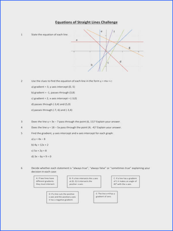 Line Graph Worksheets GCSE Straight Line Graph Worksheet by curingd Teaching Resources TES