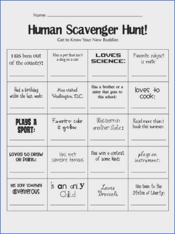 Human scavenger hunt great to know you activity for the first