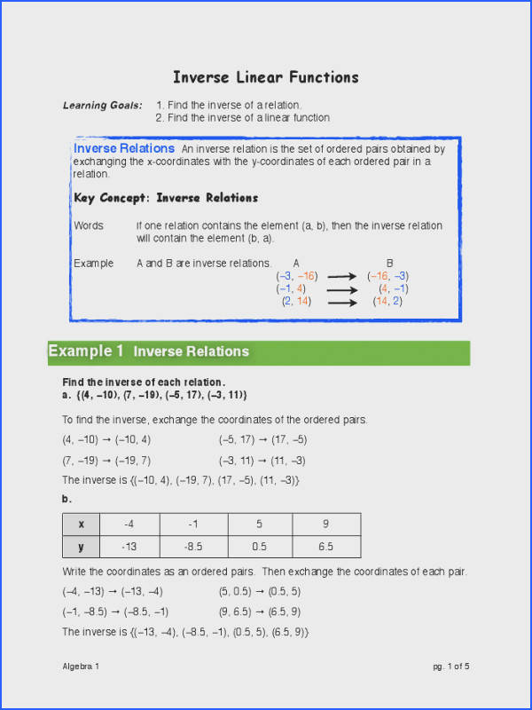 HW 10 17 12 Inverse Linear Function