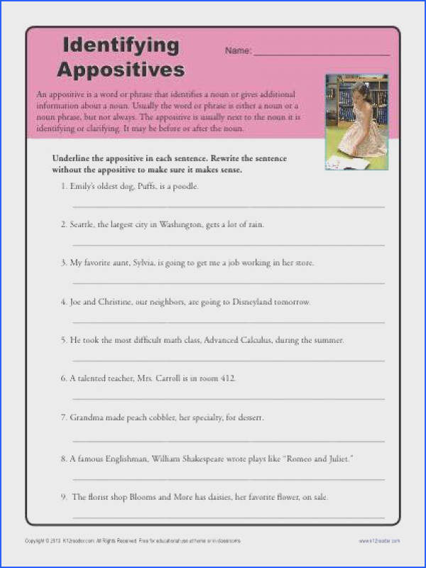 Identify the Appositives Free Printable Appositive Worksheet Activity