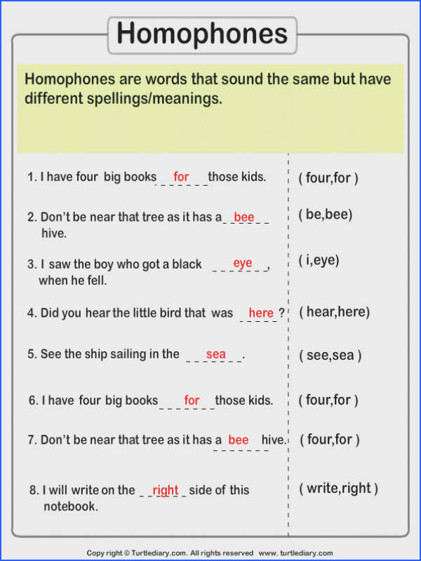 plete the Sentences with Correct Homophone Answer