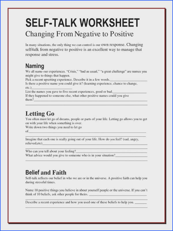 The Worry Bag Self Talk Worksheet Archives the healing path with children teens