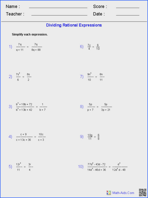 These Algebra 1 Worksheets allow you to produce unlimited numbers of dynamically created rational expressions worksheets