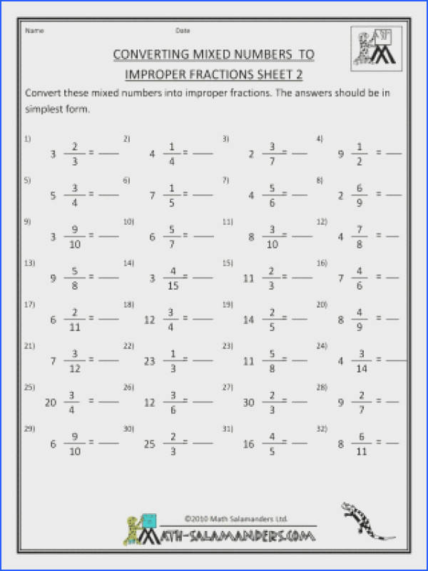 Improper Fractionet Printableets Convert Mixed Numbers To Math Fraction Worksheet Worksheets With Simplify Fractions 5th