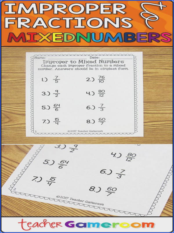 Improper to Mixed Numbers Worksheet Students practice changing improper fractions