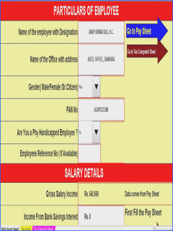 In e Tax Calculator for W B Govt employees for F Y 2016 17 and A Y 2017