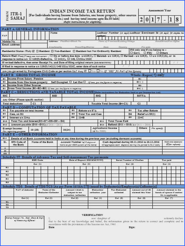 In e Tax Return Forms AY 2017 18 FY 2016 17