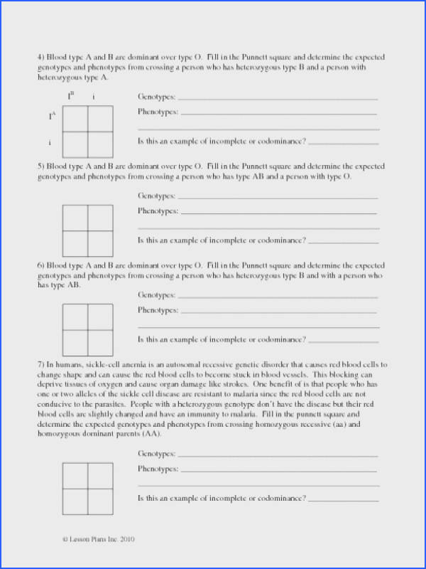 Incomplete and Codominance Worksheet | Mychaume.com