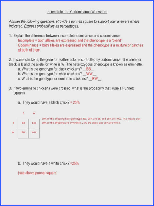 In plete and Codominance Worksheet Answers