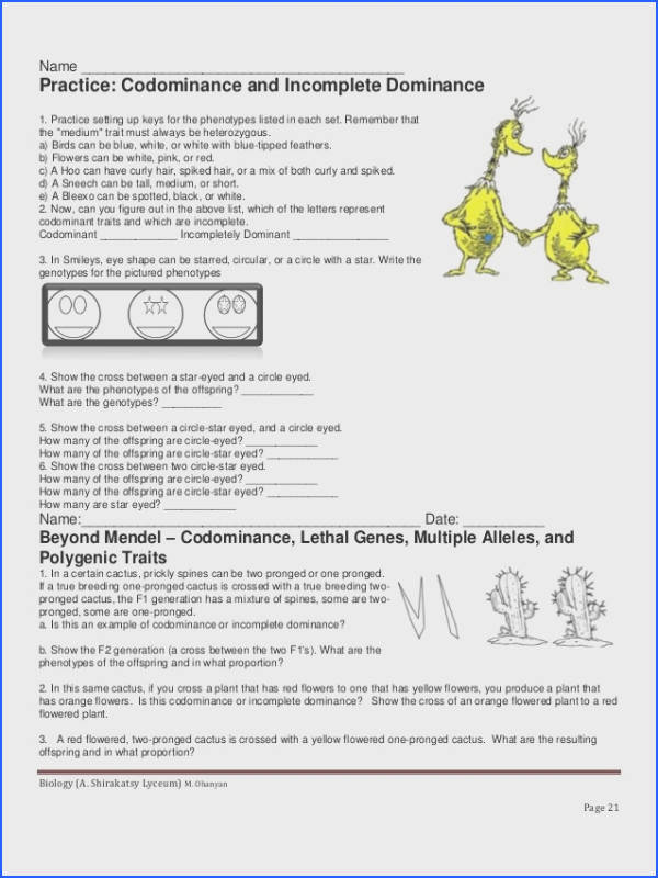 31 in plete dominance and codominance worksheet in plete and