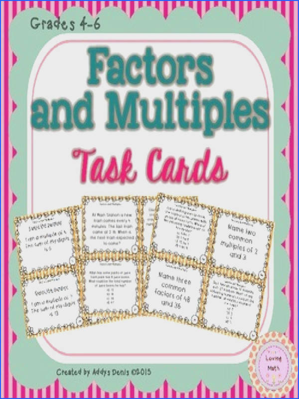 Included are 32 task cards to practice factors and multiples with your students