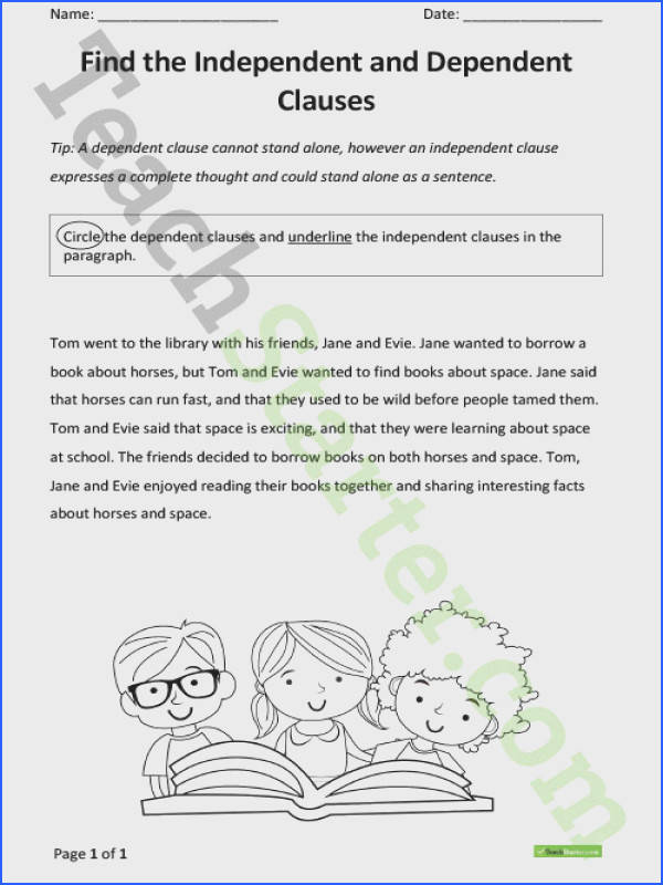 Independent and Dependent Clause worksheet Teaching Resource