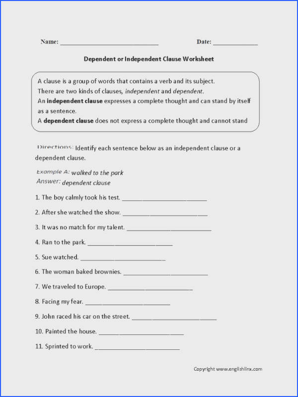 What is an Independent Clause Worksheet Independent Dependent