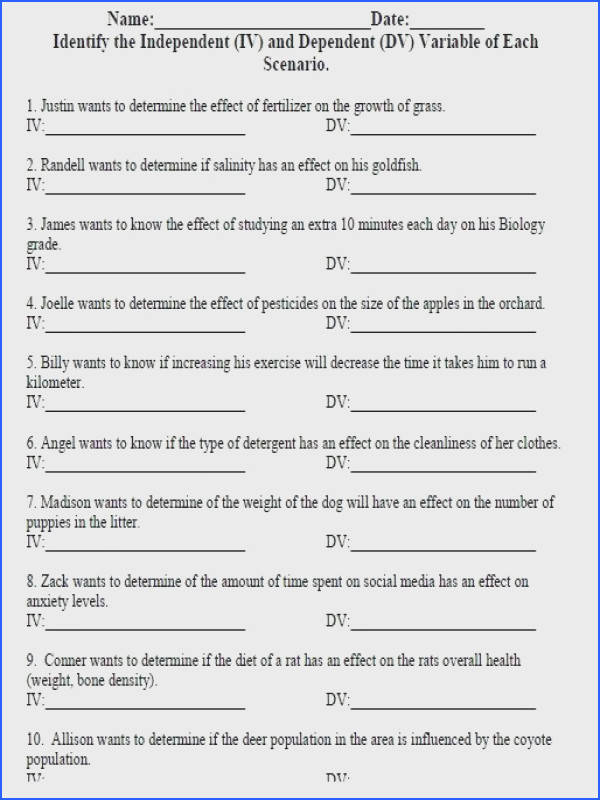 Independent and Dependent Variable Worksheet Many students struggle when learning about the independent and dependent variable