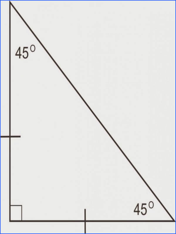 right triangle with 45 degree angles