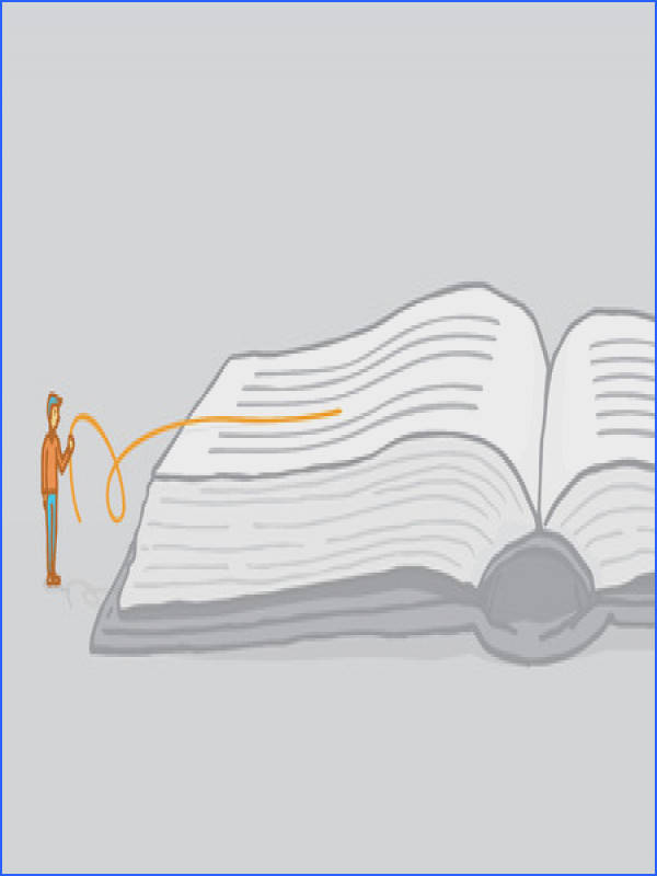 This is an illustration of a man pulling a line from a book The line