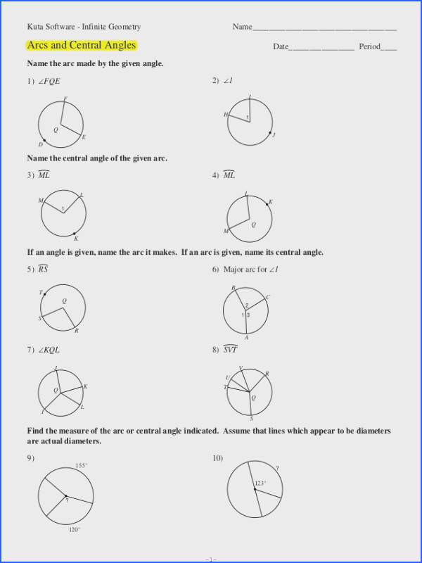 Inscribed Angles Worksheet Answers Fresh Cute Geometry Worksheets with Circle area and Circumference V s