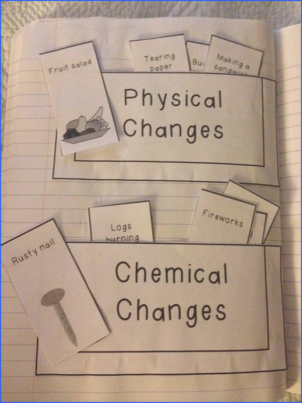 interactive notebook idea making pockets and sorting Physical and chemical changes interactive notebook