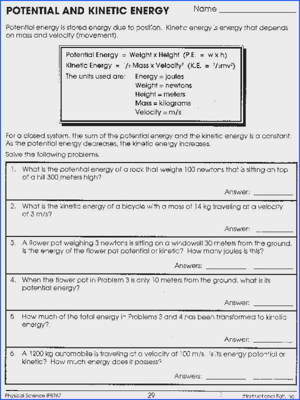 Introduction to Energy Worksheet Answer Key Unique Potential and Kinetic Energy Worksheet Answers graph Introduction