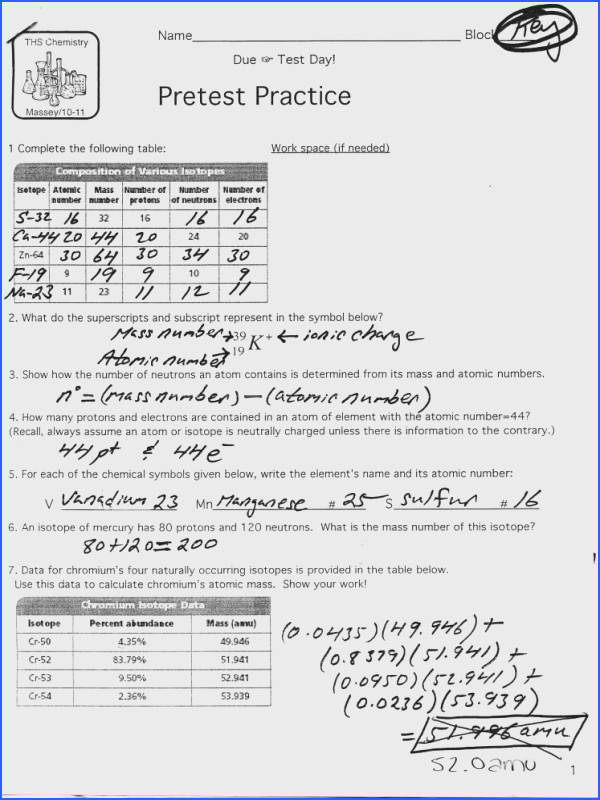 Isotopes And Ions Practice Worksheet Answer Key Isotope Ion Isotopes Ions And Atoms Worksheet 1 Answers