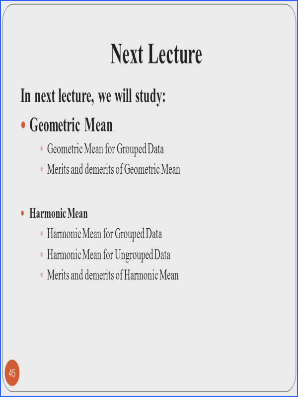 Worksheet Formula For Ungroup And Group Data Mode Maen Median Harimic Mean Geometric Mean lecture 09