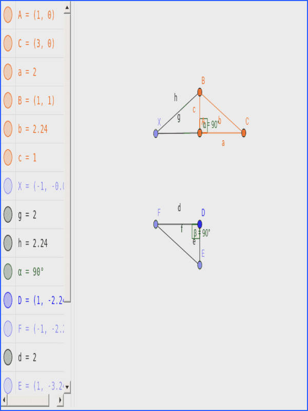 Let ABC and DEF be triangles with right triangles at angle A and angle D line AB is equal in length to DE and line BC equal line EF
