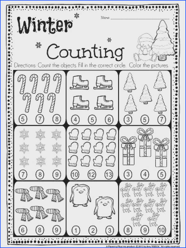 FREE Kindergarten Counting Worksheet Count the objects and fill in the correct circle