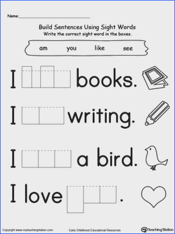 Kindergarten sight words worksheets impression Kindergarten Sight Words Worksheets Sufficient Vision Preschool And with medium image