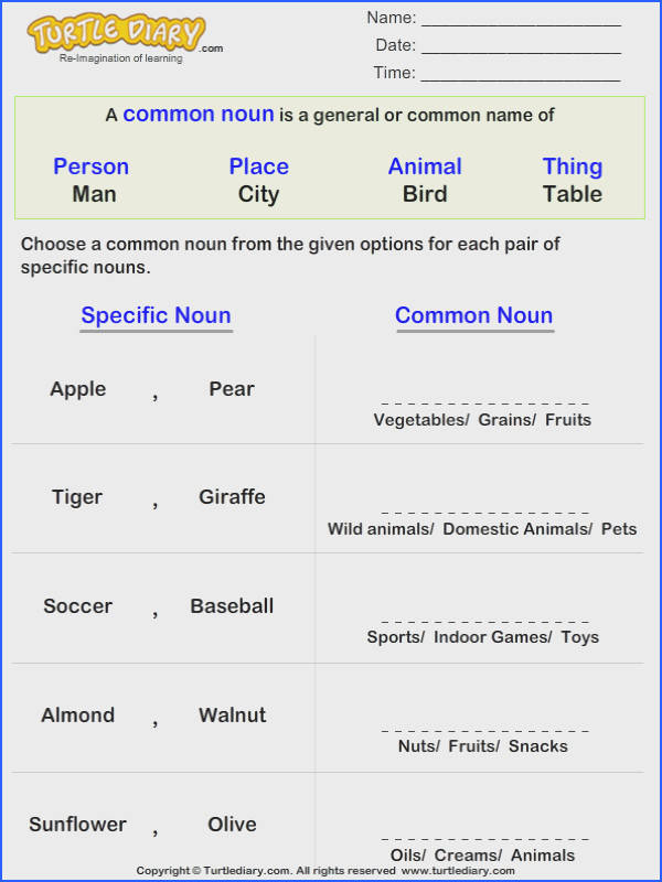 Useful Kindergarten Worksheets Proper Nouns With Additional Write The Mon Noun For Given Proper