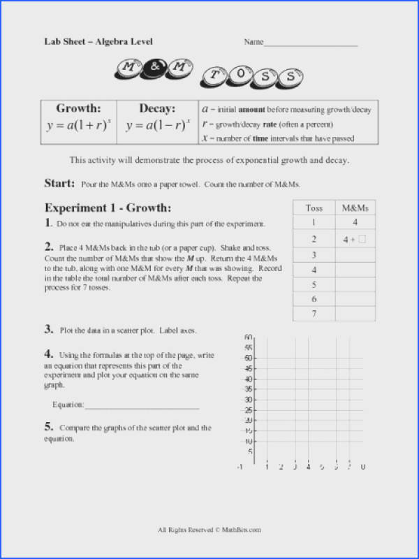 Lab Sheet Exponential Growth and Decay Worksheet for 8th 9th Grade