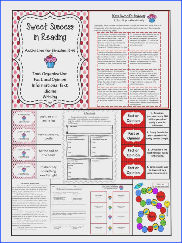 Includes Idiom Matching Fact or Opinion Game Informational Text Passage with Question Sheet Writing Prompt with Prewriting