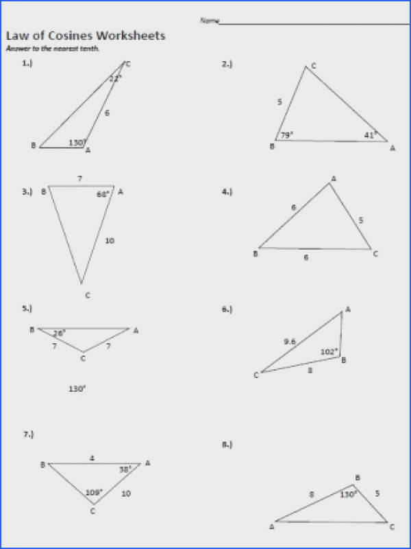 Law of Cosine Worksheet 1
