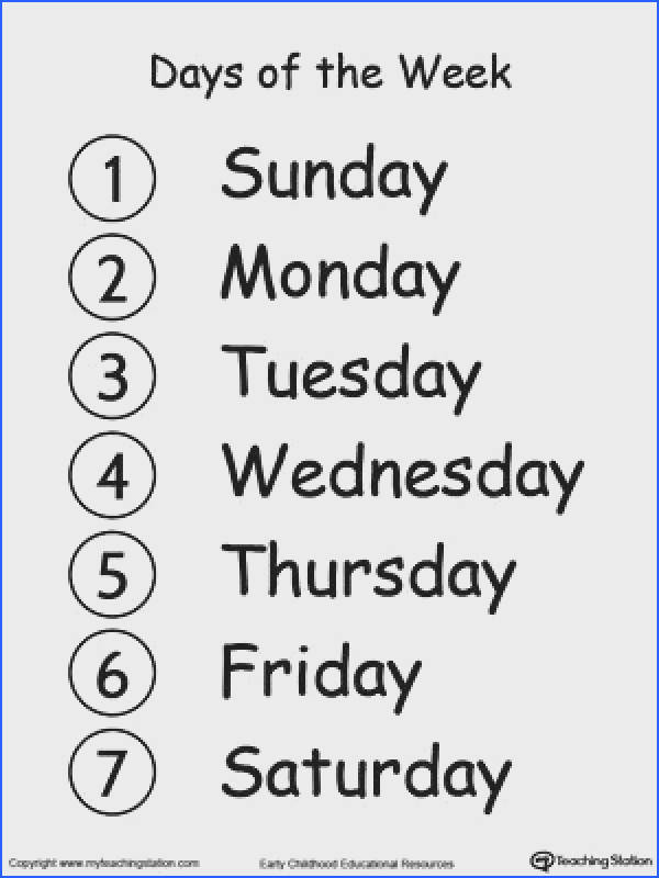 Learn the Days of the Week