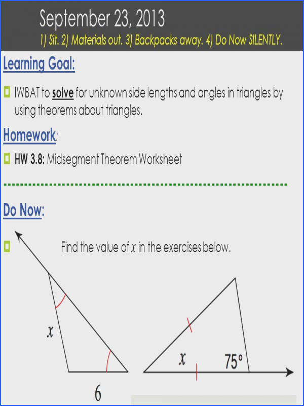 Learning Goal  IWBAT to solve for unknown side lengths and angles in triangles by