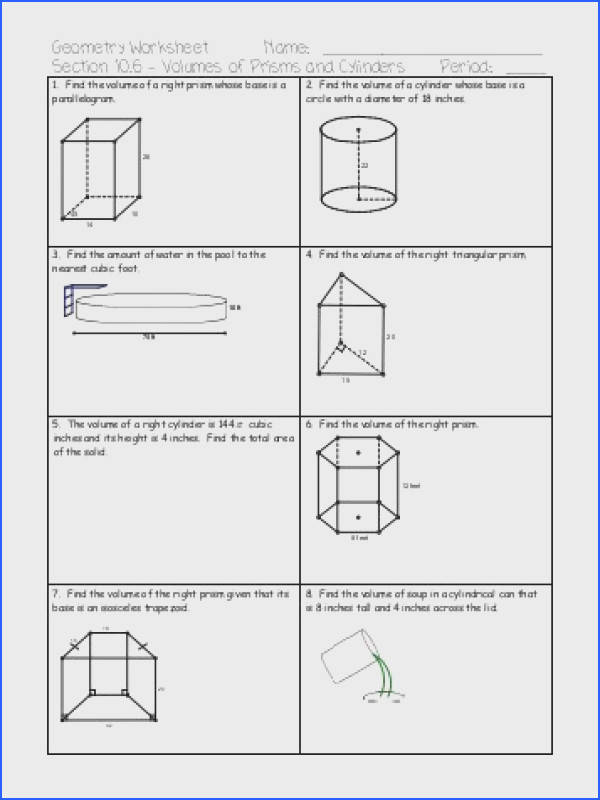 Volume of Prisms and Cylinders WS pdf