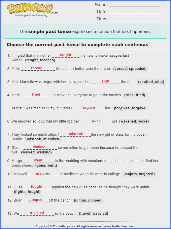 Grammar worksheet Simple Past Tense