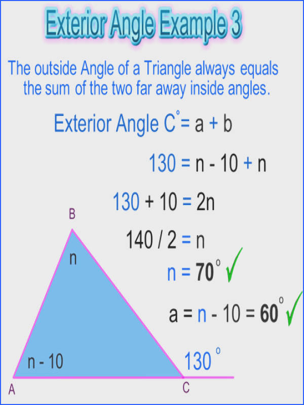 Triangle Exterior Angles Example 3
