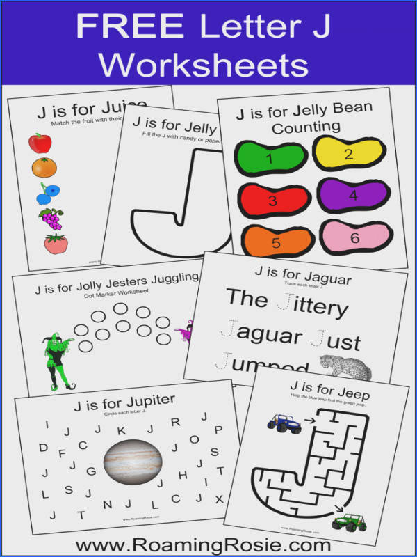 Letter J Alphabet Activities FREE Printable Worksheets from Roaming Rosie