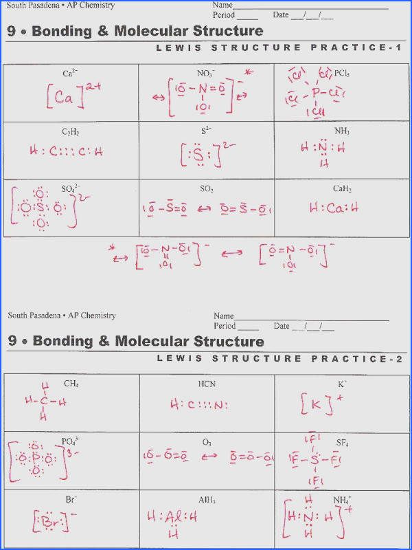 Electron Dot Diagrams And Lewis Structures Worksheet Answers Classy Design Apch Lewisprac large815